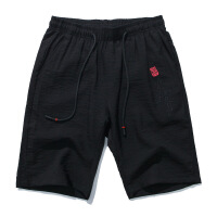夏天休闲短裤男亚麻裤中国风复古刺绣弹力薄款潮流男生五分裤