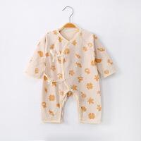 贝萌 婴儿衣服夏季连体衣彩棉斜襟系带新生儿衣服哈衣长袖0-1岁