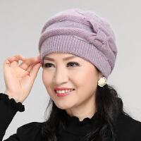 兔毛针织毛线老人帽子中老年人帽子女冬妈妈帽奶奶秋冬天加厚保暖