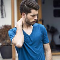 男士短袖T恤修身V领半袖纯色紧身体恤男装打底衫运动上衣夏装衣服