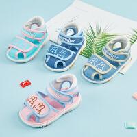 宝宝凉鞋男夏天1-2-3岁软底透气婴儿布鞋包头女童学步凉鞋