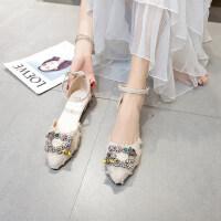 户外鞋子女生流行潮时尚韩版百搭仙女尖头平底休闲单鞋