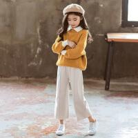 女童毛衣春秋冬套装中大儿童阔腿裤两件套