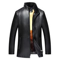 冬款男装真皮商务休闲绵羊皮外套可脱卸水貂毛领和黄金貂内胆