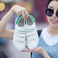 匡王2017秋季新款小白鞋女韩版低帮透气平底单鞋魔术贴懒人鞋白色运动鞋