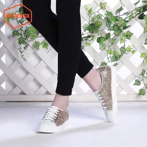 达芙妮旗下SHOEBOX/鞋柜春季新款潮韩版中跟女鞋休闲系带板鞋