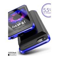 苹果6背夹充电宝电池8p无线手机壳冲7plus专用6s便携移动电源 苹果6 Plus 黑蓝色