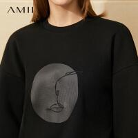 【到手价:104元】Amii慵懒风加绒卫衣2020年秋冬新款宽松印花紫色圆领上衣女潮ins