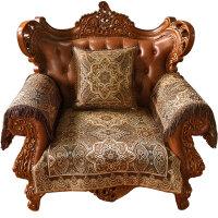 家纺 2017秋冬新款坐垫沙发垫欧式布艺客厅沙发套巾通用真皮沙发坐垫 萨尔瓦多 深情咖