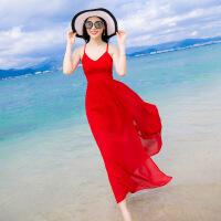 新款红色V领吊带雪纺连衣裙波西米亚长裙露背海边开叉沙滩裙