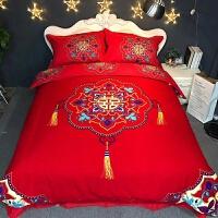 婚庆四件套结婚大红花床上用品加厚磨毛被套2.0床单套件