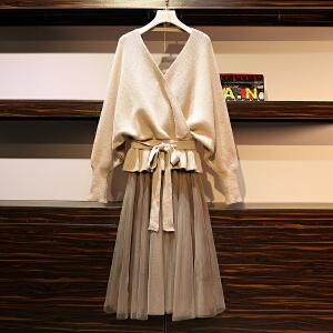 【热卖推荐】2019春秋新款大码女装时尚气质套装毛衣网纱裙显瘦两件套7187