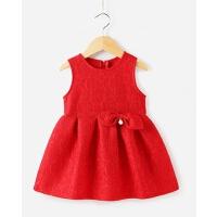 女童背心裙1-2一岁春装公主裙宝宝红色连衣裙春秋3-5儿童春季裙子