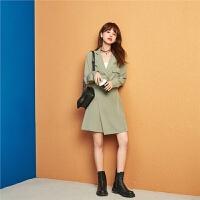 七格格长袖连衣裙2020年新款春季女韩版气质学生显瘦高腰过膝裙子