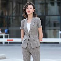 格子小西装外套女短袖夏时尚英伦风气质韩版职业装潮西服套装