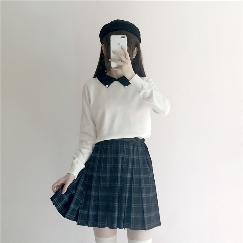 春季女装韩版新款学院风甜美可爱撞色钉珠Polo领针织衫女毛衣 一般在付款后3-90天左右发货,具体发货时间请以与客服协商的时间为准
