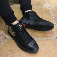 欧洲站嘻哈红色刺绣高帮鞋男2017冬季潮鞋真皮 街头潮牌欧美男鞋