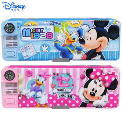 迪士尼米奇米妮多功能双开文具盒儿童小学生带指南针削笔刀铅笔盒