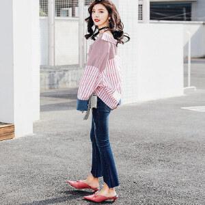 七格格衬衫长袖宽松韩版百搭学生春装新款女心机设计感上衣条纹衬衣