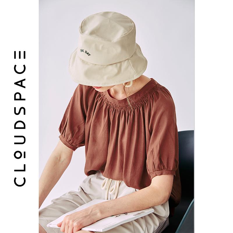 【2件8折/3件75折】云上生活2019夏新款纯色气质衬衣圆领短袖衬衫女C3607