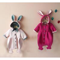 女婴儿连体衣服0一岁3个月1男宝宝秋冬季6保暖外套装加绒加厚棉衣