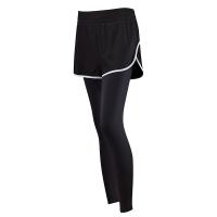 拼色假两件运动裤女弹力紧身健身裤薄款瑜伽裤速干训练跑步裤春夏