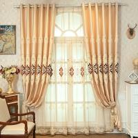 客厅窗帘成品欧式黄色豪华棉麻餐厅阳台卧室遮阳全遮光布隔热防晒 黄色 窗帘