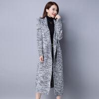 秋冬女装 女式欧美翻领长袖毛衣外套 加长款混色口袋针织大衣 均码