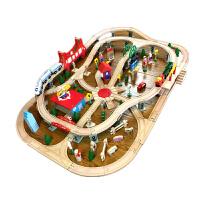 托马斯小火车木质轨道套装电动玩具儿童男孩拼装模型 130片电动款+送托马斯和收纳凳 ACOOL带电动 联系客服