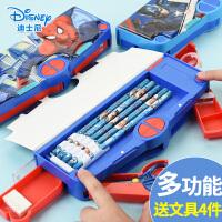 迪士尼文具盒男小�W生一年��P盒蜘蛛�b文具盒多功能��意�和�男孩男生男童卡通塑料自�鱼U�P盒