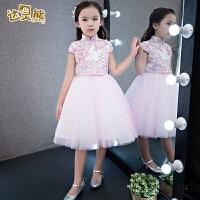 女童礼服生日钢琴演出服蓬蓬裙春季2018新款儿童礼服中式旗袍裙