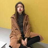 秋冬女装2017新款韩版学院风bf宽松中长款灯芯绒衬衫风衣外套学生