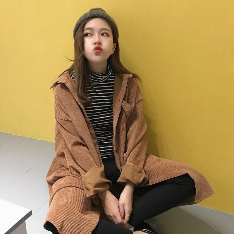 秋冬女装新款韩版学院风bf宽松中长款灯芯绒衬衫风衣外套学生 一般在付款后3-90天左右发货,具体发货时间请以与客服协商的时间为准