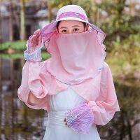电动自行车骑车防晒头套帽女户外遮阳帽护脸骑行防尘口罩全脸面罩SN5148 粉色 三件套