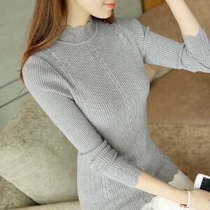 RANJU然聚 RANJU 然聚2018秋季新品新款套头毛衣女韩版内搭长袖针织衫短款半高领修身打底衫