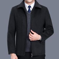 新款秋冬中年男装夹克毛呢外套加厚中老年人男士羊毛呢茄克爸爸装