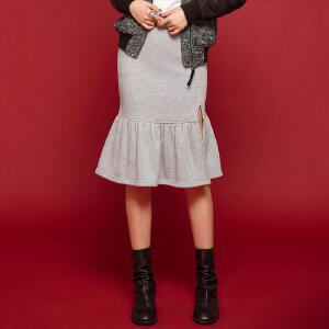 七格格冬新款 舒适松紧腰鱼尾拼接中长开衩加绒半身裙CM092