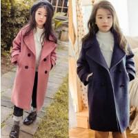 女童毛呢子大衣中长款2017冬款亲子装中大童韩版加绒加厚外套