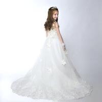 女童表演服拖尾秋冬 儿童礼服蓬蓬裙演出服花童婚纱白雪公主裙 白色