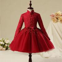 公主裙女童蓬蓬裙钢琴演出服 2016 儿童礼服裙长袖婚纱红色花童礼服女 酒红色蕾丝