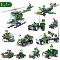 儿童玩具军事城市塑料积木飞机男孩拼插组装积木玩具