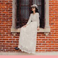 工艺绣花长款修身连衣裙18新款复古风女神长袖长裙子春夏季18
