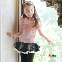 2018秋冬韩版女童打底衫纯棉羊毛拉架长袖T恤高领蕾丝荷叶边童装