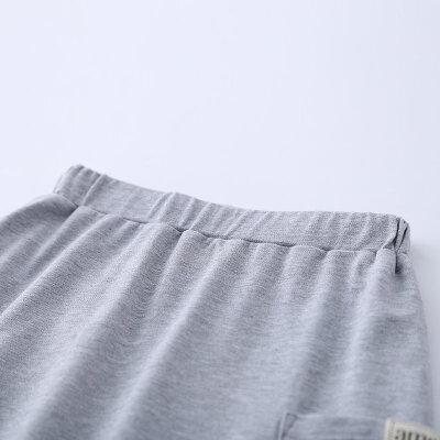 【尾品汇 5折直降】amii童装2017夏季新款男童休闲简约套装中大童翻领印花运动装