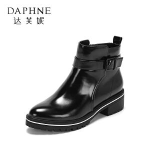 达芙妮集团/鞋柜圆头时尚复古英伦舒适方跟扣饰短筒女靴-1