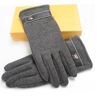 男士触屏手套短款格子手套保暖骑车防风开车分指手套