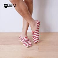 【低价秒杀】jm快乐玛丽春夏欧美条纹时尚平底套脚休闲低帮帆布鞋男鞋子