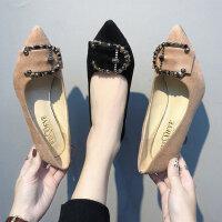 时尚浅口水钻女士单鞋 韩版百搭尖头细跟女鞋子 新款绒面高跟鞋女