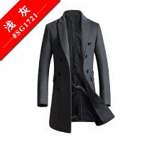 羊毛呢子大衣男中长款青年英伦商务毛呢风衣外套韩版修身双排扣潮