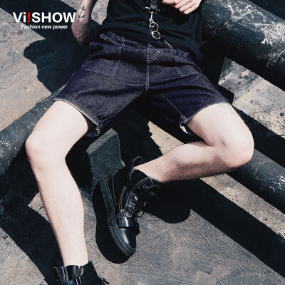 viishow新款男士牛仔短裤 纯棉修身百搭男装牛仔中裤五分裤潮满199减20/满299减30/满499减60 全场包邮